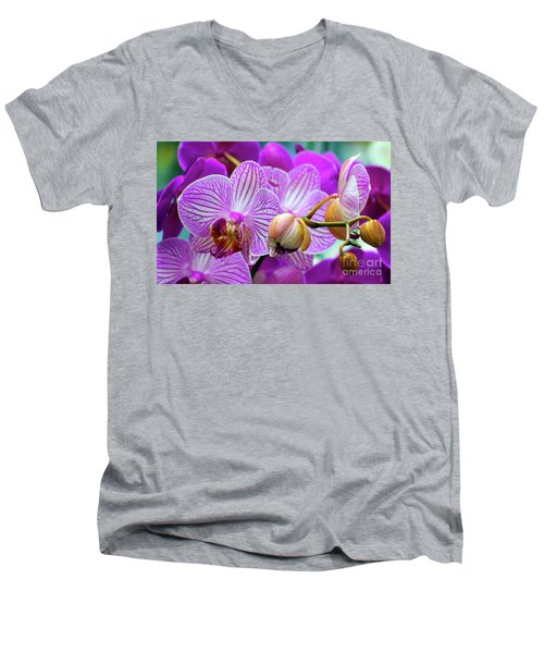 Decorative Fuschia Orchid Still Life Men's V-Neck T-Shirt