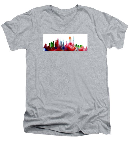 Decorative Skyline Abstract New York P1015c Men's V-Neck T-Shirt