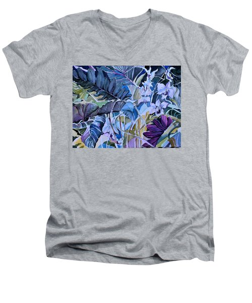 Men's V-Neck T-Shirt featuring the painting Deep Dreams by Mindy Newman