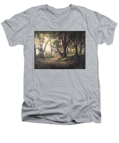 Deep Forest Rays  Men's V-Neck T-Shirt