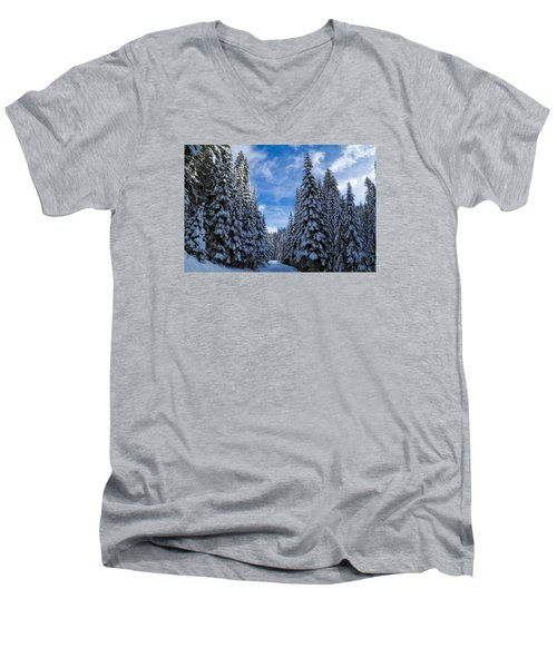 Deep In The Snowy Forest Men's V-Neck T-Shirt by Lynn Hopwood