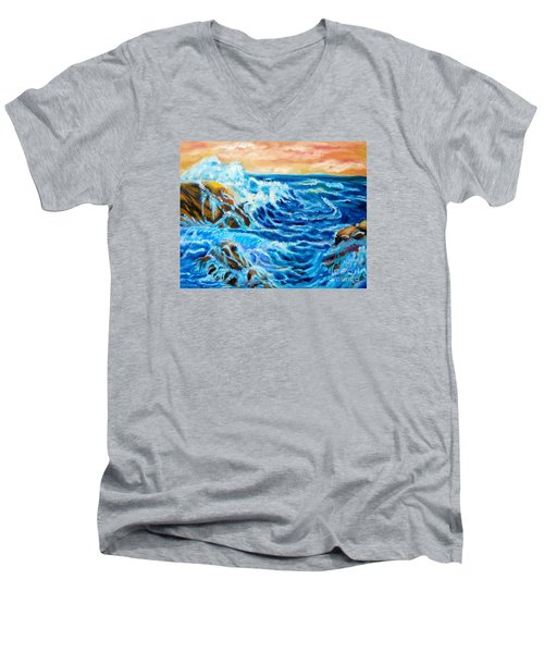 Men's V-Neck T-Shirt featuring the painting Deep by Jenny Lee