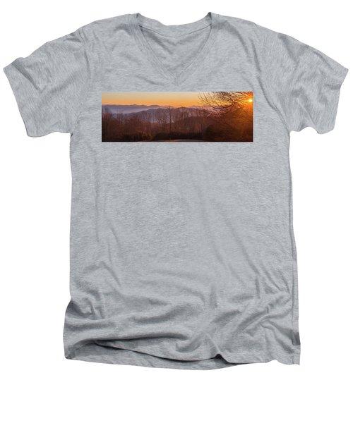 Deep Orange Sunrise Men's V-Neck T-Shirt
