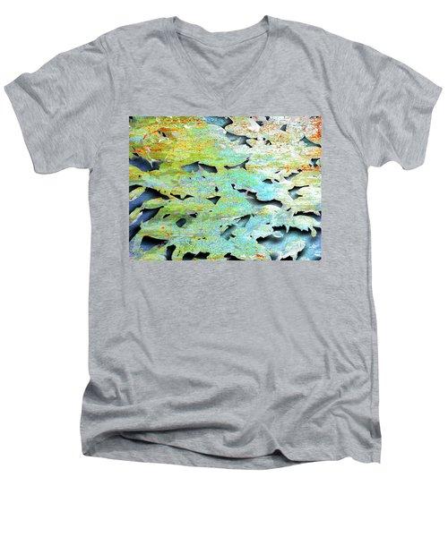Men's V-Neck T-Shirt featuring the mixed media Deep by Tony Rubino