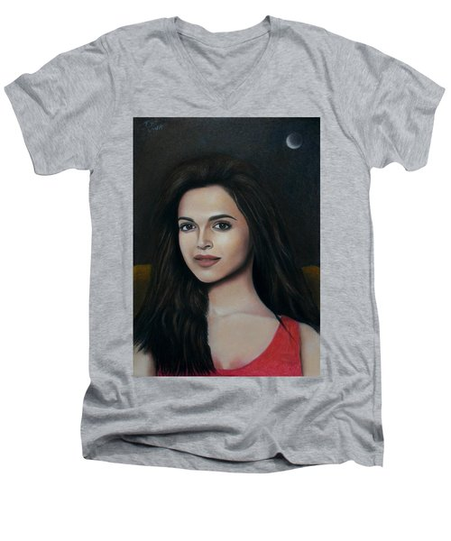 Deepika Padukone - The Enigmatic Expression Men's V-Neck T-Shirt