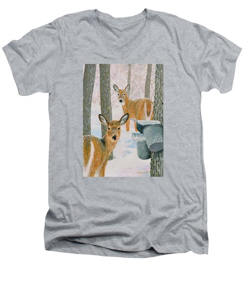 Deer And Sap Buckets Men's V-Neck T-Shirt