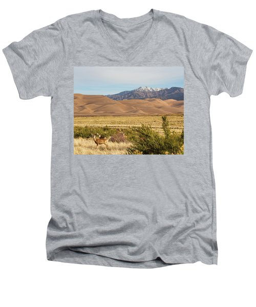 Men's V-Neck T-Shirt featuring the photograph Deer And The Colorado Sand Dunes by James BO Insogna