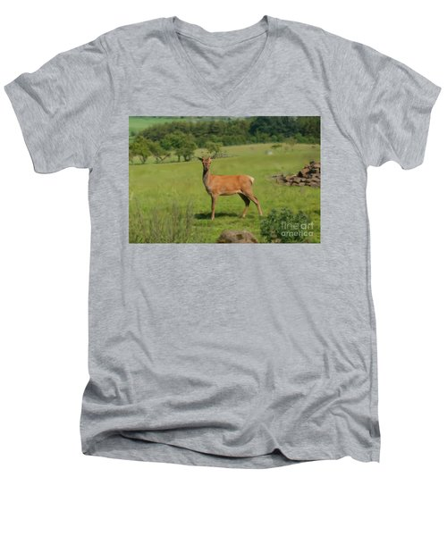 Deer Calf. Men's V-Neck T-Shirt