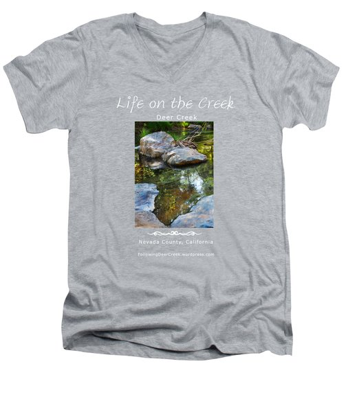 Deer Creek Point - White Text Men's V-Neck T-Shirt