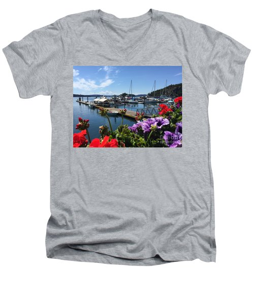 Deer Harbor By Day Men's V-Neck T-Shirt by William Wyckoff