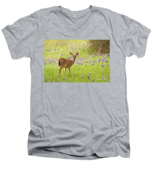 Deer In The Bluebonnets Men's V-Neck T-Shirt