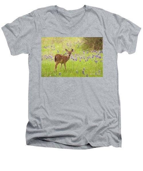 Deer In The Bluebonnets Men's V-Neck T-Shirt
