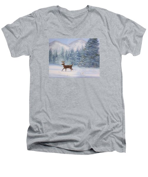 Deer In The Snow Men's V-Neck T-Shirt by Denise Fulmer