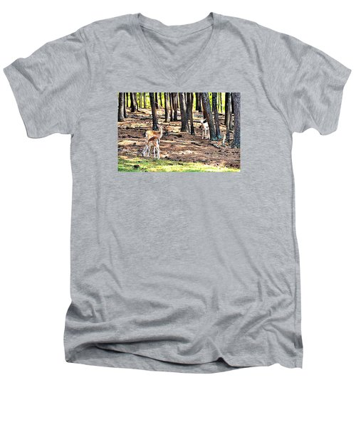 Deer In The Summer Forest Men's V-Neck T-Shirt