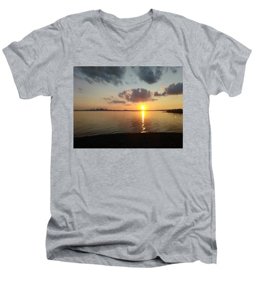 Deer Island Sunset Men's V-Neck T-Shirt