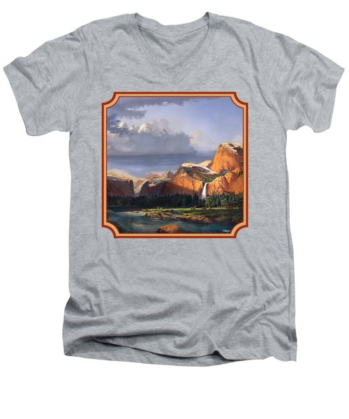 Deer Meadow Mountains Western Stream Deer Waterfall Landscape - Square Format Men's V-Neck T-Shirt