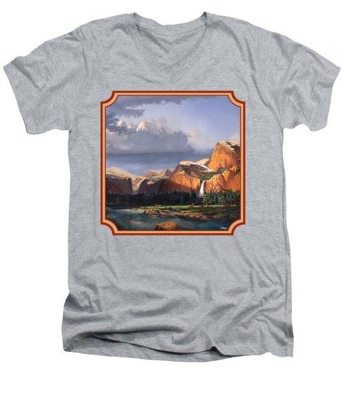 Deer Meadow Mountains Western Stream Deer Waterfall Landscape - Square Format Men's V-Neck T-Shirt