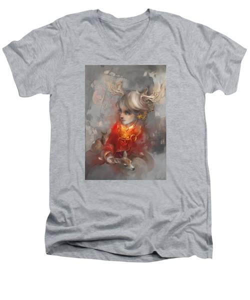 Deer Princess Men's V-Neck T-Shirt by Te Hu