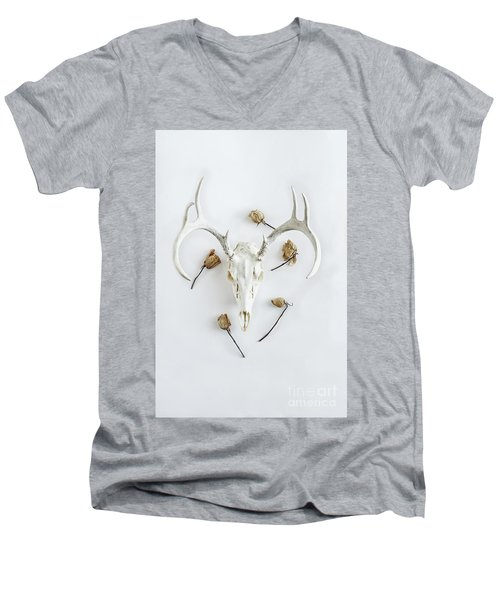 Men's V-Neck T-Shirt featuring the photograph Deer Skull With Antlers And Roses by Stephanie Frey