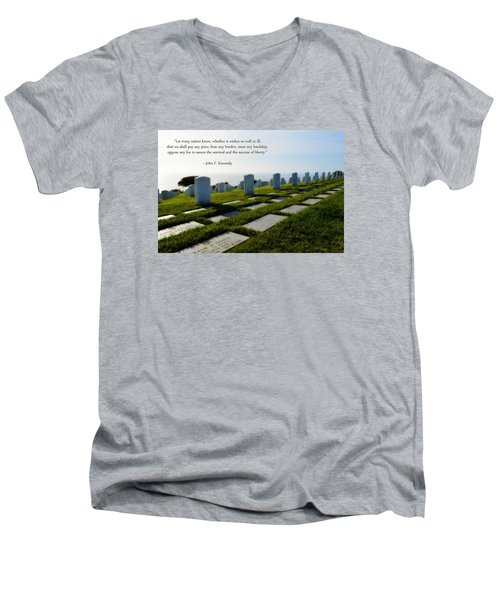 Men's V-Neck T-Shirt featuring the photograph Defending Liberty by Glenn McCarthy Art and Photography