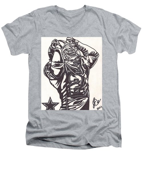 Men's V-Neck T-Shirt featuring the drawing Deion Sanders by Jeremiah Colley