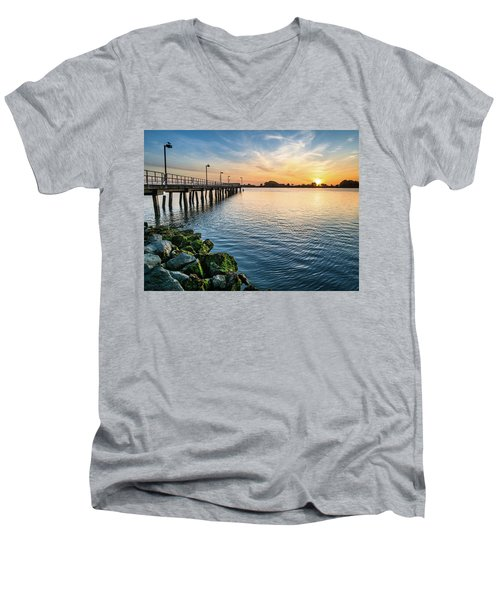 Del Norte Pier And Spring Sunset Men's V-Neck T-Shirt by Greg Nyquist