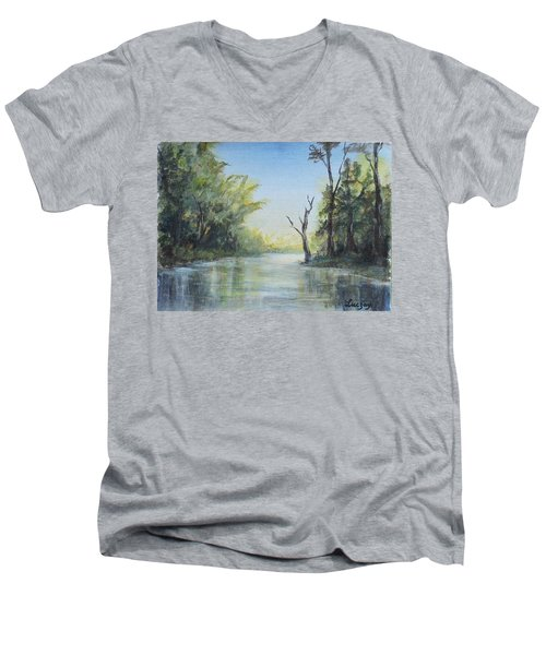 Men's V-Neck T-Shirt featuring the painting Delaware River  by Luczay