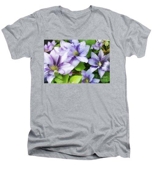 Delicate Climbing Clematis  Men's V-Neck T-Shirt