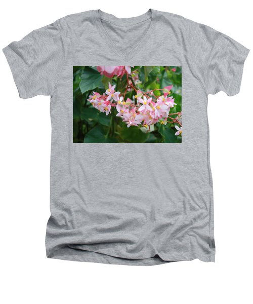Men's V-Neck T-Shirt featuring the photograph Delicate Flowers by Karen Nicholson
