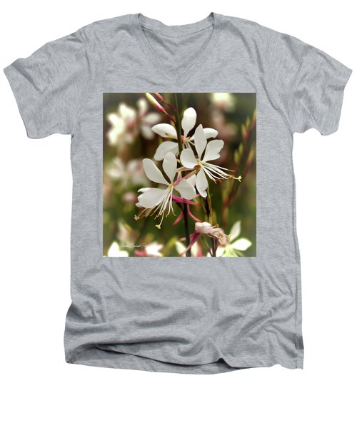 Delicate Gaura Flowers Men's V-Neck T-Shirt by Joann Copeland-Paul