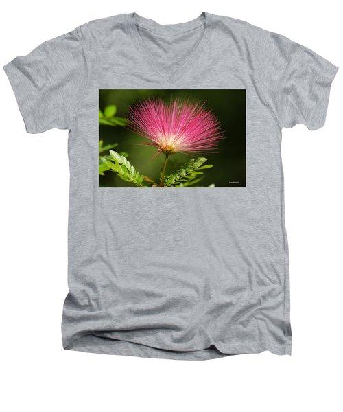 Delicate Pink Bloom Men's V-Neck T-Shirt by Gary Crockett