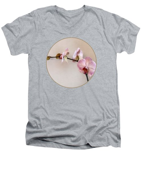Delicate Pink Phalaenopsis Orchids Men's V-Neck T-Shirt by Susan Savad