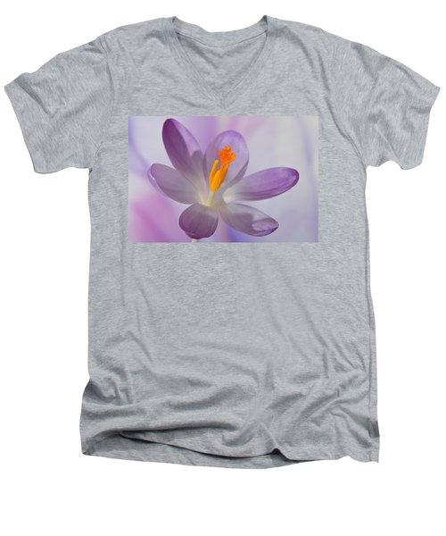 Delicate Spring Crocus. Men's V-Neck T-Shirt by Terence Davis