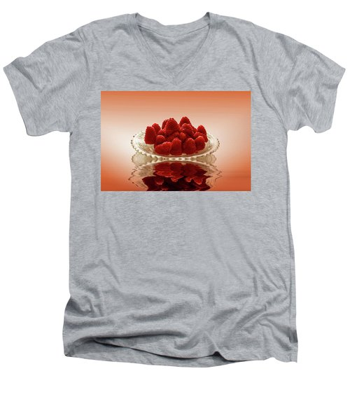 Delicious Raspberries Men's V-Neck T-Shirt by David French