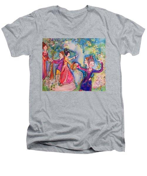 Delightful Company  Men's V-Neck T-Shirt by Judith Desrosiers