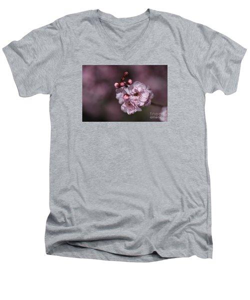 Delightful Pink Prunus Flowers Men's V-Neck T-Shirt
