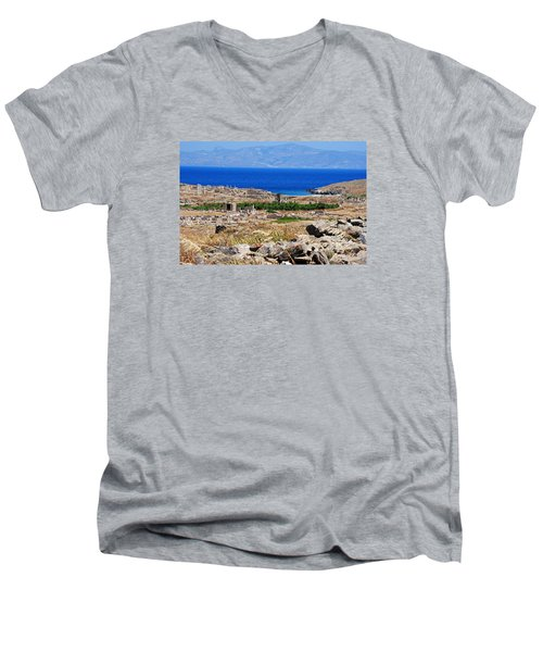 Men's V-Neck T-Shirt featuring the photograph Delos Island View Of Agean by Robert Moss