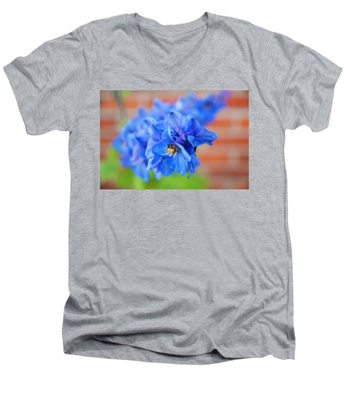 Delphinium Men's V-Neck T-Shirt by Tamara Sushko