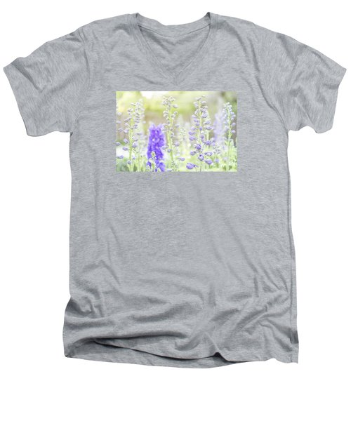Delphiniums Men's V-Neck T-Shirt by Mary Angelini