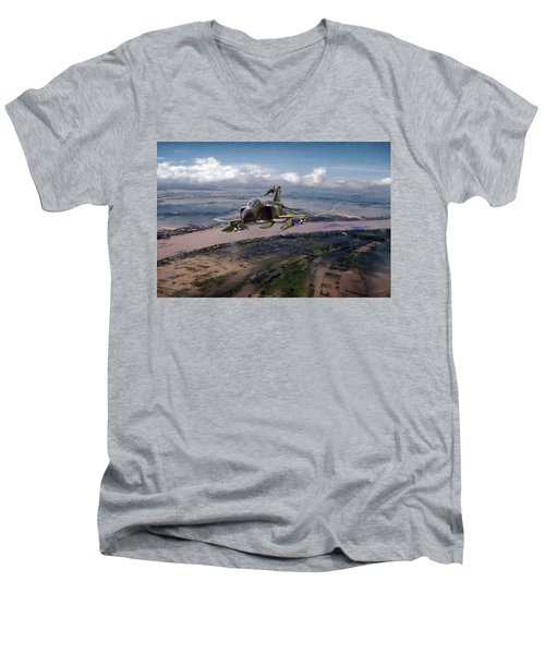 Men's V-Neck T-Shirt featuring the digital art Delta Deliverance by Peter Chilelli