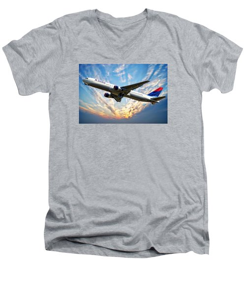 Delta Passenger Plane Men's V-Neck T-Shirt