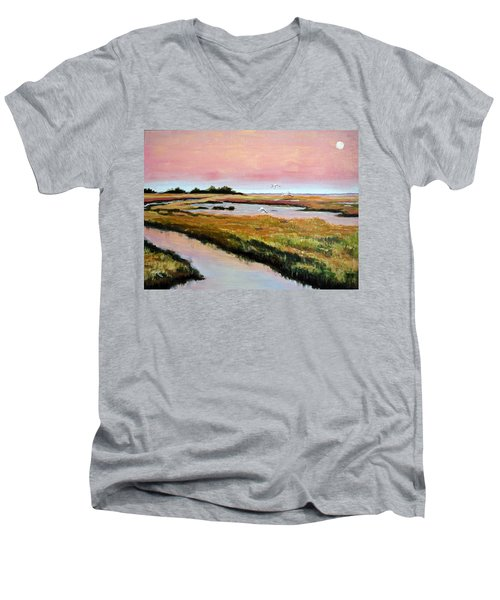 Men's V-Neck T-Shirt featuring the painting Delta Sunrise by Suzanne McKee