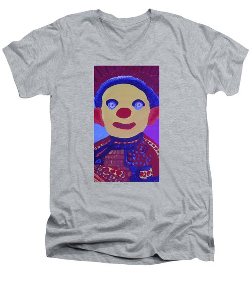 Men's V-Neck T-Shirt featuring the painting Demented Clownboy by Don Koester