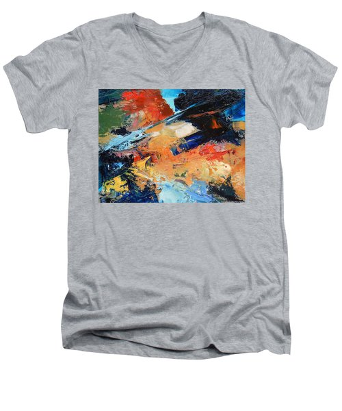 Men's V-Neck T-Shirt featuring the painting Demo Sketch by Gary Coleman