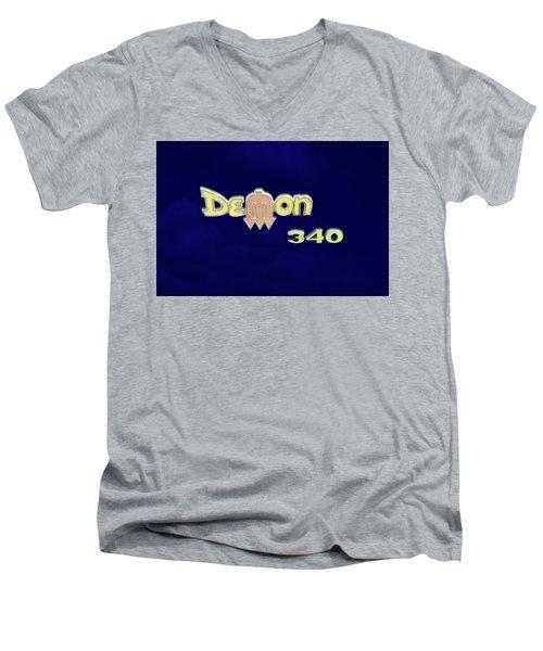 Men's V-Neck T-Shirt featuring the photograph Demon 340 Emblem by Mike McGlothlen