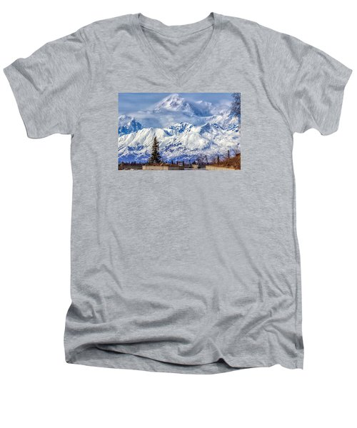 Men's V-Neck T-Shirt featuring the photograph Denali by Michael Rogers