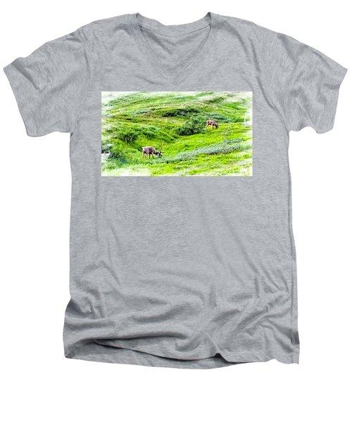 Men's V-Neck T-Shirt featuring the photograph Denali National Park Caribou by Joseph Hendrix