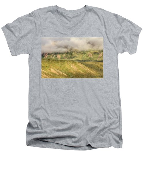 Denali National Park Mountain Under Clouds Men's V-Neck T-Shirt