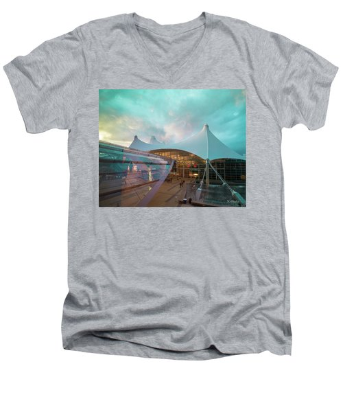 Men's V-Neck T-Shirt featuring the photograph Denver International Airport by Tim Kathka