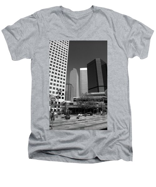 Denver Architecture Bw Men's V-Neck T-Shirt by Frank Romeo